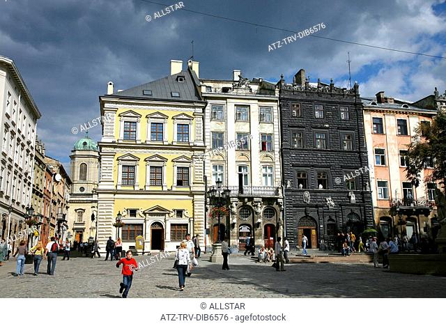 BANDINELLI'S PALACE & CHORNA KAMIANYTSIA, BLACK HOUSE ON EAST FACADE OF RYNOK SQUARE; LVIV, UKRAINE; 02/09/2007