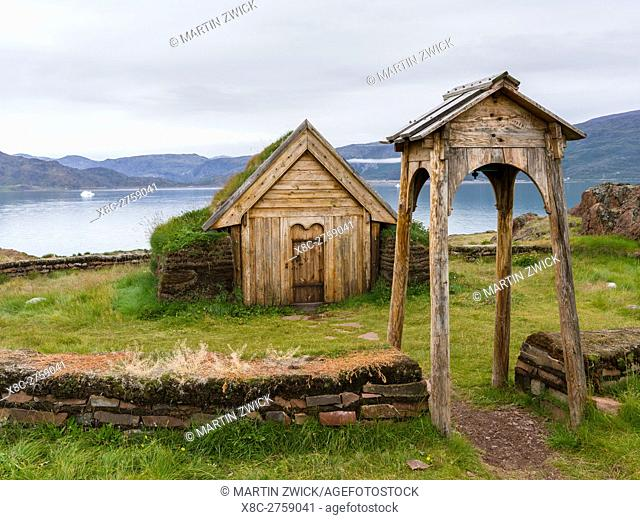 Replica of the church of Tjodhilde. The settlement Qassiarsuk, probably the old Brattahlid, the home of Erik the Red. America, North America, Greenland, Denmark