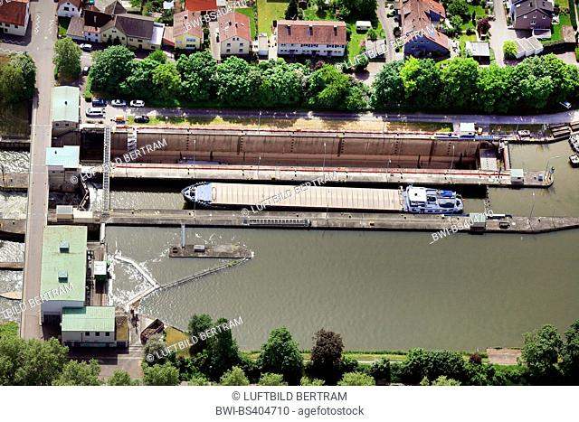 Horkheim watergate, aerial view, Germany, Baden-Wuerttemberg, Neckargemuend, Heilbronn