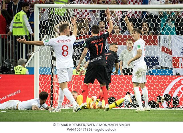 Ivan PERISIC (2nd right to left, CRO) scored the goal to make it 1-1 for Croatia, Action, Croatia (CRO) - England (ENG) 2: 1, Semifinals, Game 62, on 11