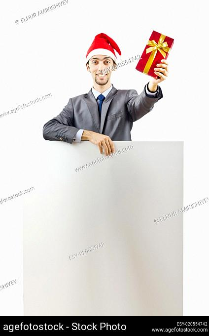 Businessman in santa hat with blank message