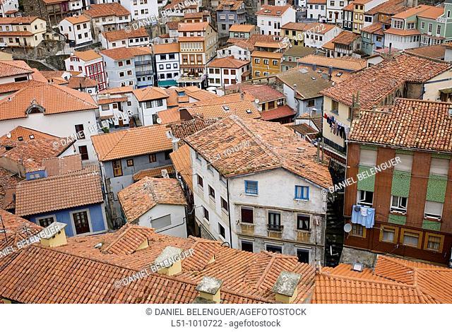 general view of the village of Cudillero, Asturias