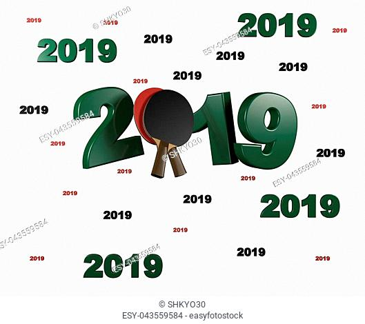 Many Table Tennis 2019 Designs with a White Background