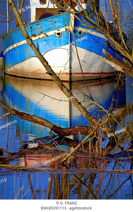 decommissioned, disused fishing cutter at a river at high tide, Germany, Bremen