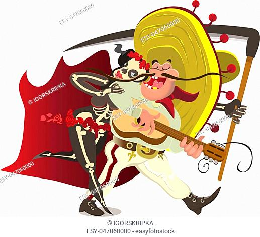 Mexican with guitar dancing with death.Vector illustration