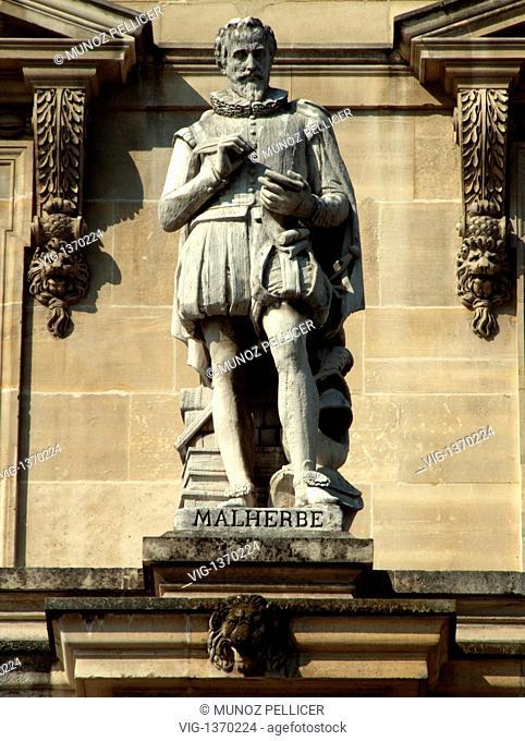 FRANCE, PARIS, 01.05.2007, Statue of french poet, critic and translator Francois de MALHERBE at the facade of The Louvre Museum - Palais Royal. Paris