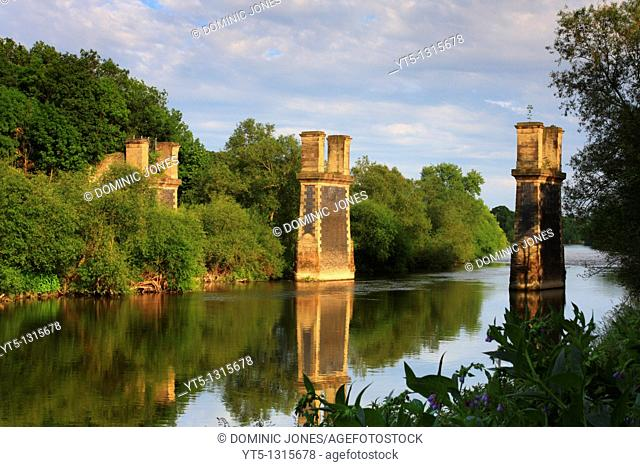 Partially dismantled railway bridge crossing the River Severn, Near Bewdley, Worcestershire, England