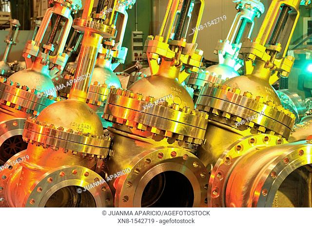 Industrial valves illuminated with colored gels