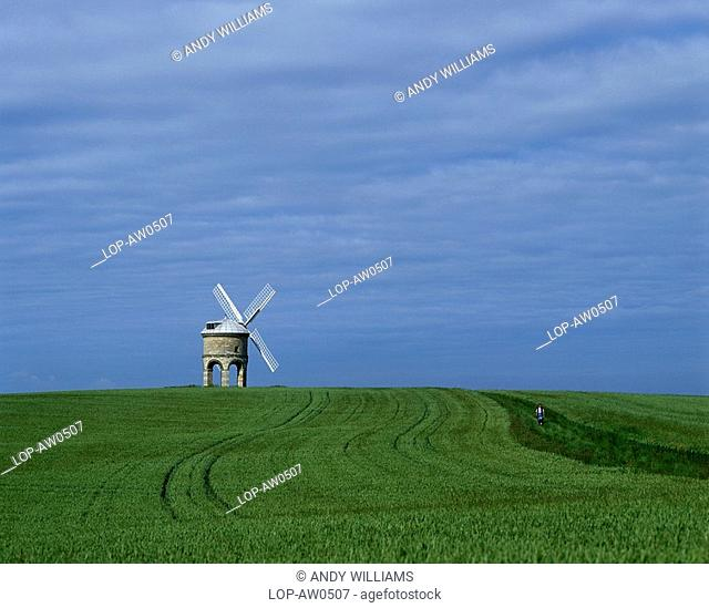 England, Warwickshire, Chesterton, A view across the fields to Chesterton Windmill