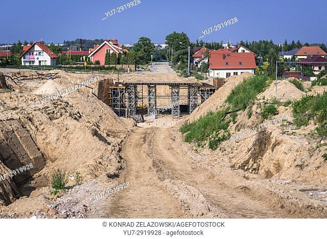 Road building in Koscierzyna town, Kashubia region of Pomeranian Voivodeship in Poland