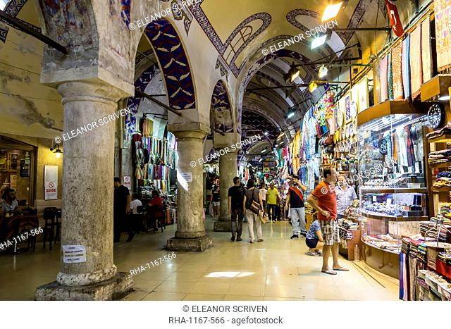 Street with shops and stone columns and decorated ceiling, Grand Bazaar, Istanbul, Turkey, Europe