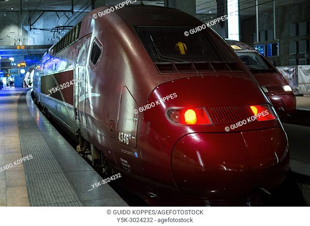 Antwerp, Belgium. Highspeed Thalys Train from Paris to Amsterdam waiting at the underground Antwerp Central Station for new passengers