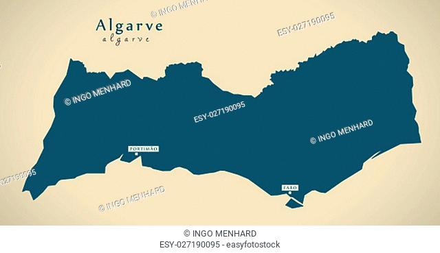 Modern Map - Algarve Portugal PT illustration