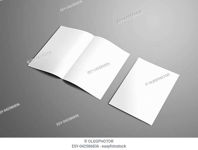 Business mockup with two A4, (A5) bi-fold brochure with realistic shadows isolated on gray background. The first booklets is open on the spread