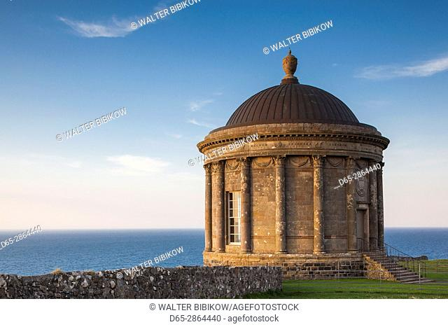 UK, Northern Ireland, County Londonderry, Downhill, Downhill Demesne, Mussenden Temple, former estate library, sunset
