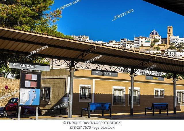 View of the Altea train station in Alicante north, Spain