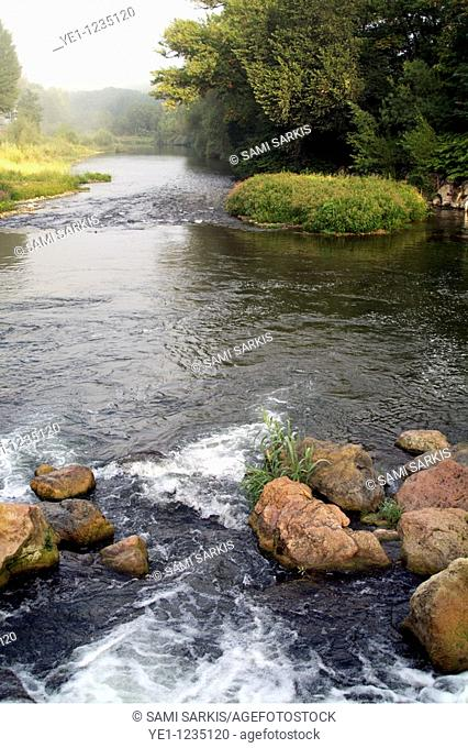 Small rapids on the Orb River, Les Aires, Herault, France