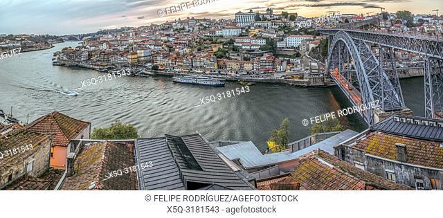 View of the city of Porto and the Douro river from Vilanova de Gaia, Portugal. High resolution panorama