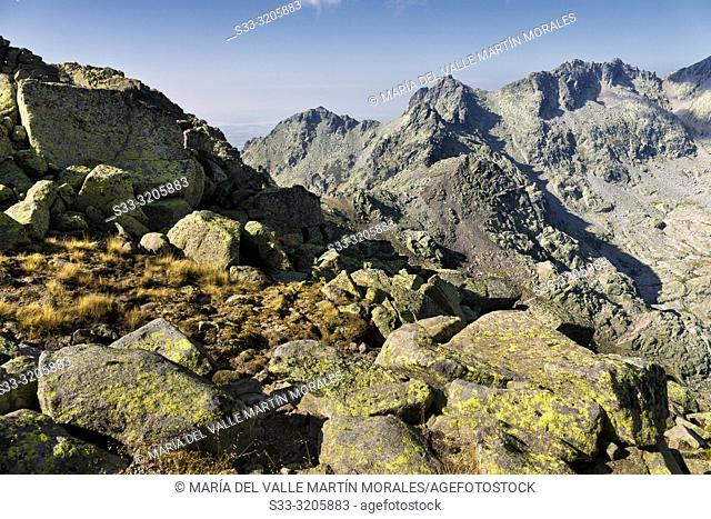 Cuchillar de las Navajas and Machos pass fron Morezon peak in the Sierra de Gredos on a sunny day. Avila. Spain