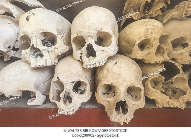 Cambodia, Siem Reap, Wat Thmei, human skulls of Khmer Rougue victims in memorial stupa