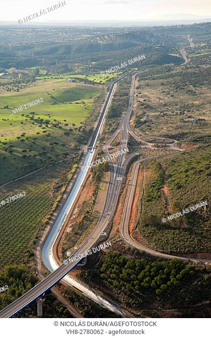 Aerial view of several roads an channnel. N-430 and Dehesa Channel. Casas de Don Pedro, Badajoz province, Extremadura region, Spain
