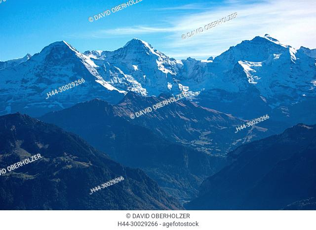 The Alps, mountains, the Bernese Oberland, triumvirate, Eiger, autumn, Jungfrau, sceneries, monk, Niederhorn, Switzerland