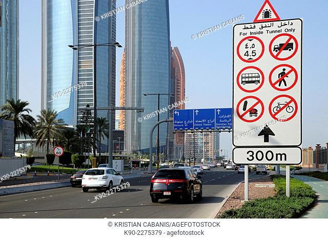 Traffic on the Corniche at Jumeirah Etihad Towers, Abu Dhabi, United Arab Emirates, Asia