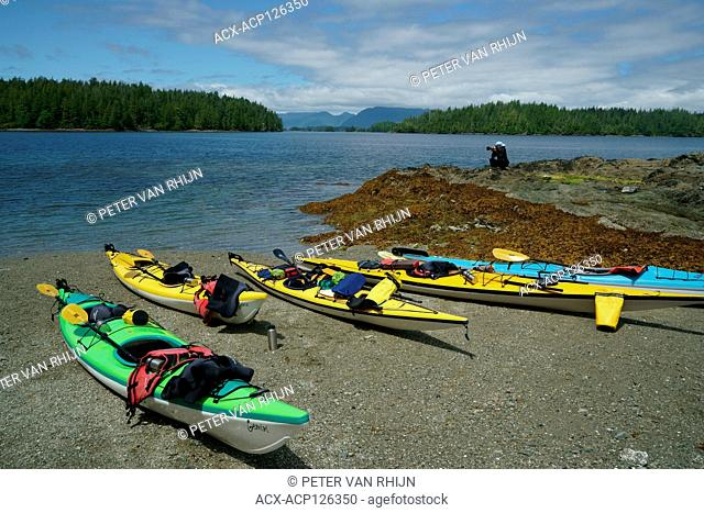 Kayak expedition on a lunch break at the Broken Islands outside Ucluelet,Pacific Rim National Park,British Columbia