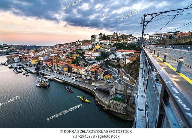 Aerial view in Porto city on Iberian Peninsula, second largest city in Portugal