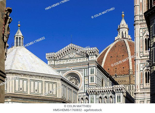 Italy, Tuscany, Florence, historic center, listed as World Heritage by UNESCO, Duomo, Cathedral Santa Maria del Fiore and Campanile