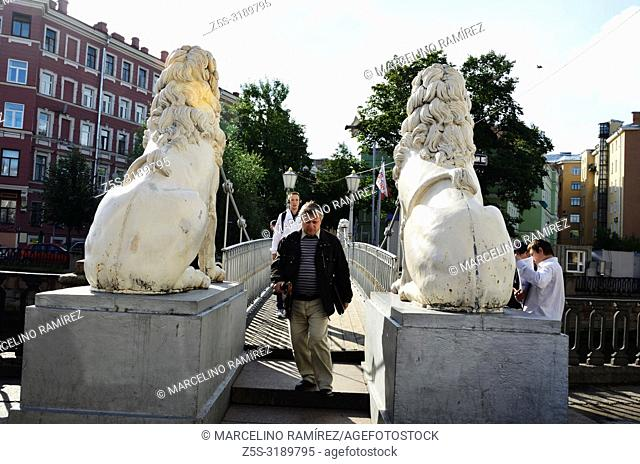 Bridge of Four Lions. Saint Petersburg, Northwestern, Russia