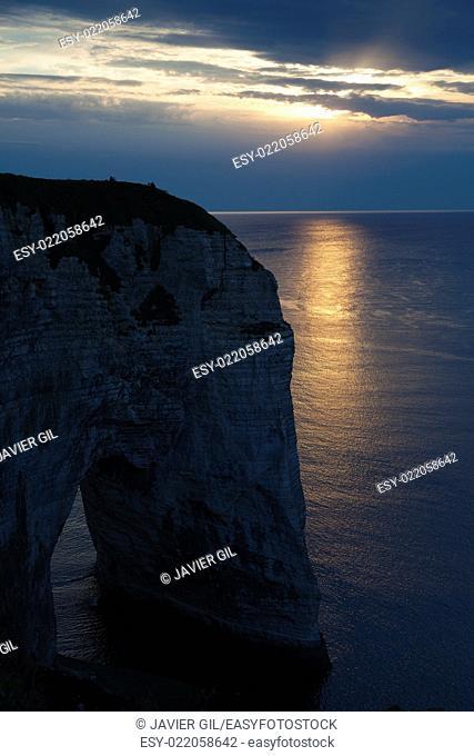Cliff in Etretat, Cote d'Albatre, Pays de Caux, Seine-Maritime department, Upper Normandy region, France