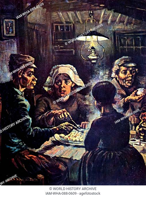 Painting titled 'The Potato Eaters' by Vincent Van Gogh (1853-1890) a Dutch Post-Impressionist painter. Dated 19th Century
