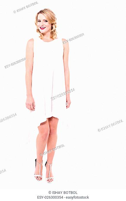 Beautiful woman posing to camera, isolated on white