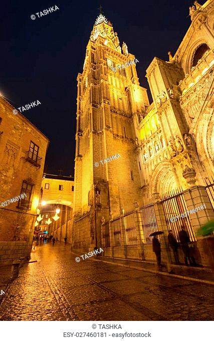 Toledo street with famous Cathedral of Saint Mary, Spain