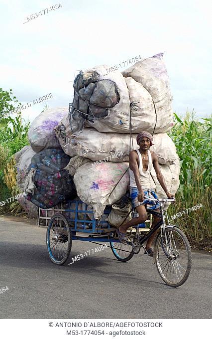 indian man transport big bags filled with plastic bottles on his rickshaw in dhapa district  kolkata  west bengal  india  asia