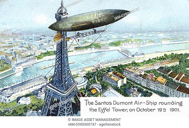 Alberto Santos-Dumont 1873-1932 Brazilian aviation pioneer  Here in his airship dirigible No 6 rounding the Eiffel Tower, Paris, while winning the Deutsch Prize