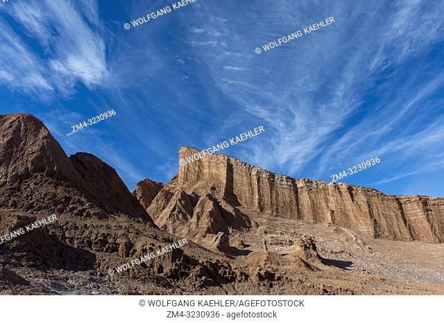 View of rock formations in the Valley of the Moon near San Pedro de Atacama in the Atacama Desert, northern Chile