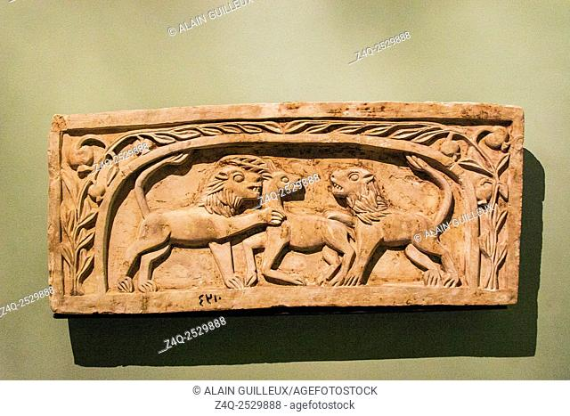 Egypt, Alexandria, National Museum, Coptic art, stela with 2 lions and a gazelle
