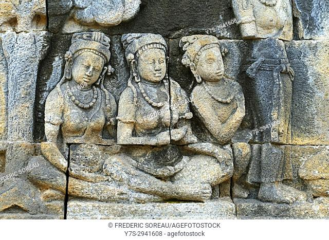 Closeup of beautiful ancient relief on the wall of Borobudur buddhist temple,Magelang,Java,Indonesia,Asia