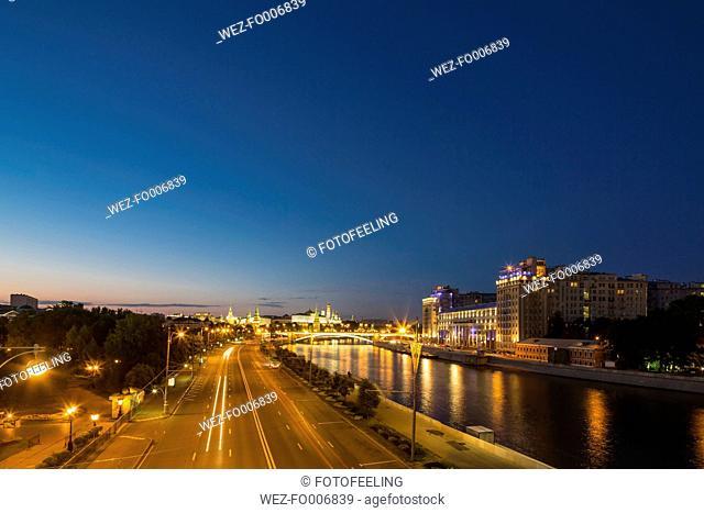 Russia, Moscow, Street, Moskva river, Kremlin palace, Kremlin wall, Estrada Theatre, Blue hour