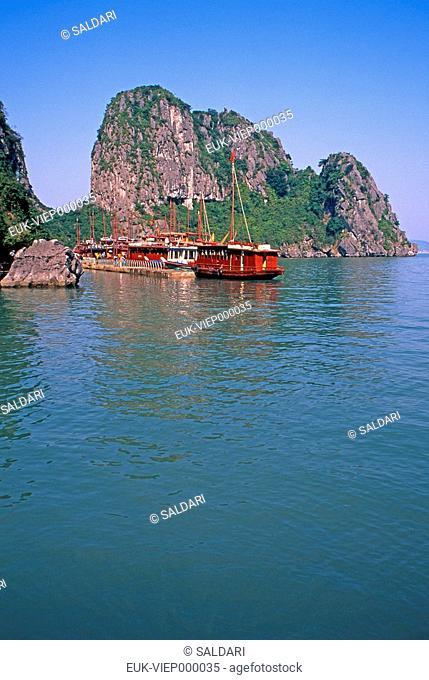 Junk ships cruising through Halong Bay,Vietnam