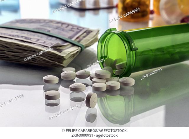 Some medications on a ticket of dollar, conceptual image copay health