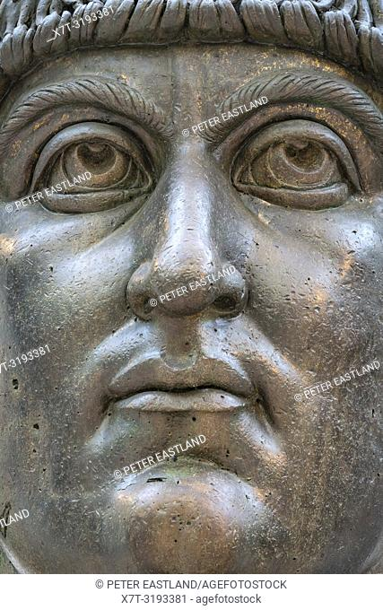The colossal bronze head of Constantine the Great in the Palazzo dei Conservatori, part of the Capitoline Museums, Rome, Italy