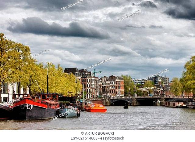 Amsterdam Cityscape from Amstel River