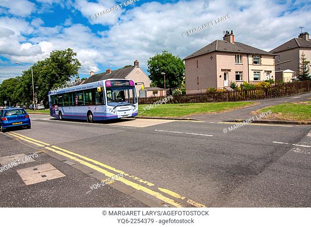 Streets of Airdrie with local bus, North Lanarkshire in Scotland, Uniteg Kingdom