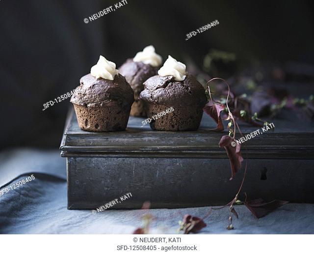 Vegan chocolate cupcakes with a lemon cream filling