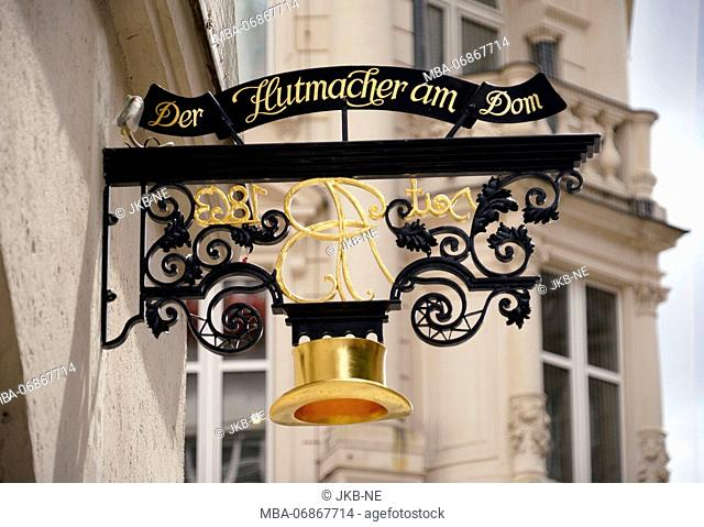 Germany, Bavaria, Munich, 'Der Hutmacher am Dom' store sign