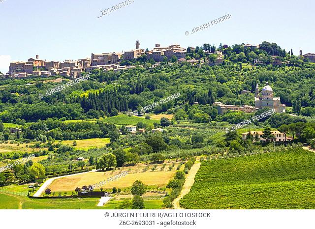View of Montepulciano, historic town of the Renaissance, with the cathedral Madonna di San Biagio, Tuscany, Italy