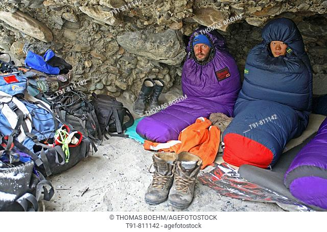 On the frozen river trek Chadar ( Ladakh / India ) you have to sleep in caves near the riverbed